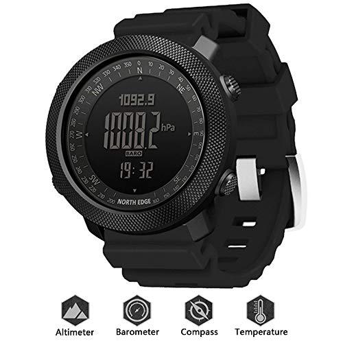 HXHH 2021 Nuevo Reloj De Deportes De Aventura Al Aire Libre De Silicona, Reloj Militar Impermeable 50M con Altímetro, Barómetro, Brújula Y Termómetro, Reloj Funcional Profesional,Negro