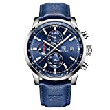 Original Quartz Mens Watch Unique Sport Watches for Men Causal Wrist Watch Men Leather Waterproof Watch, Luminous Hands, Chronograph, Calendar, Outdoor, Gifts (Blue Silver)