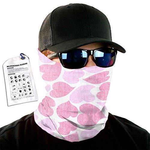 16 In 1 Seamless Headband Pink Hearts Outdoor Multifunctional Magic Headwear Womens Mens Headscarves UV Resistance 50x25cm Cool24538
