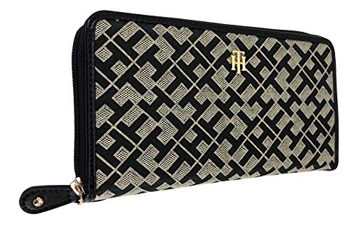 Tommy Hilfiger Women's Wallet, Black/Tan