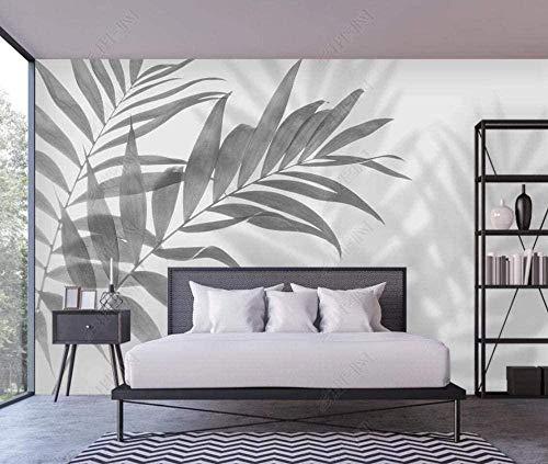 3D Wandtapete graue tropische Pflanzenblattdekoration Wandmalerei 3D Wandfoto Wandwand 280X200cm
