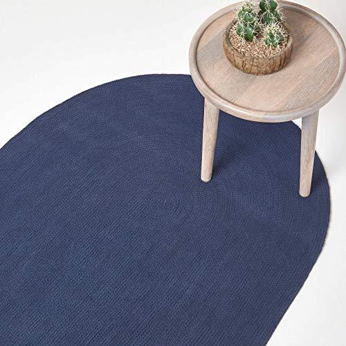 Homescapes - Tappeto Artigianale Tessuto Piatto, in Cotone, per Camera o Salotto, Bleu Marine, 90 x 150 cm