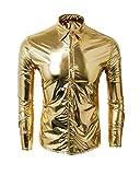 CUSFULL Camisa de Hombre Metallic Shirt Nightclub Estilos Manga Larga Botón Abajo Camisas Shiny Slim Fit para Danza Concierto Partido Navidad Partido Cosplay Halloween (S, Dorado)