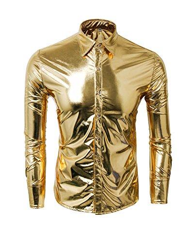 * Popular * Men's Gold Metallic Disco Shirt. Silver also available, M, L, XL