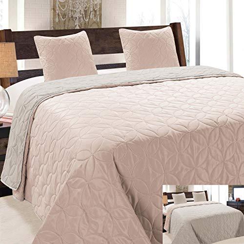 Euromat Vigo 006 - Colcha de cama (3 piezas, 220 x 240 cm, incluye 2 fundas de almohada), color salmón claro, gris, plateado y beige