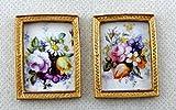 Miniatura Para Casa De Muñecas Accesorio 2 Flor Imágenes Cuadros en dorado Marcos