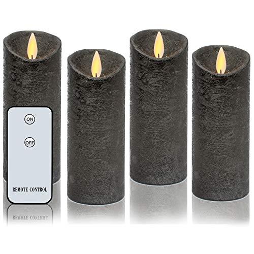 LED-Kerzen aus echtem Wachs, flammenlose Kerzen, bewegliche Flamme, batteriebetriebene Kerzen mit Fernbedienung, Wachs, Anthrazit, 12,7 x 5,1 cm, 4 Stück., Common Size H5