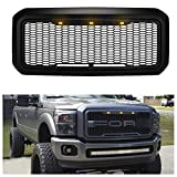 Upgrade Front Grill for Ford F250/F350 2011-2016, Grille Replacement Amber LED Lights Included, Raptor Style Grill (Matte Black)