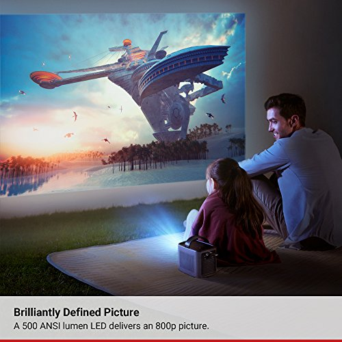 Nebula Mars Portable Cinema, Home Theater, 150 in HD Picture, 500 ANSI Lumens, 4K and 3D Support, with Wi-Fi, Two 10W Speakers, 3-Hour Playtime, DLP, and Android 4.4 for Music, Movies, and More
