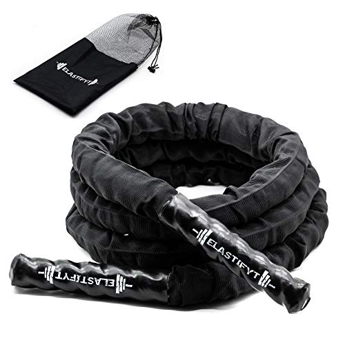 ELASTIFYT - Cuerda de saltar con peso totalmente protegida, cuerda de saltar pesada para hombres y mujeres, entrenamiento de potencia total del cuerpo y construcción de músculos (9.9, 1.5)