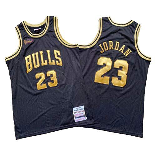 Bulls Jordan Jersey 97-98 Finale Standard Black Gold Logo Basketball Jersey para hombre, Hombre Swingman City Edition Outdoor XXL (95~110kg)