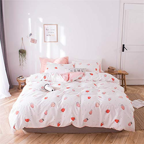 FenDie Girl Bed Twin Duvet Cover Set, Soft Cotton Bedding Cover Set Reversible Style , Strawberry Printed Duvet Cover White Peach with 2 Pillow Cases, Skin-Friendly, Comfy