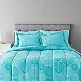 Amazon Basics 7-Piece Light-Weight Microfiber Bed-In-A-Bag Comforter Bedding Set - Full/Queen, Industrial Teal