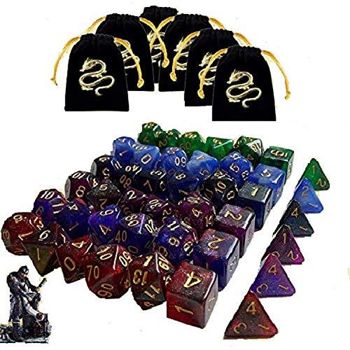 JOSE9A Dados De rol Dados D&D, 49 Piezas Colores Dobles Dados de Juego poliédricos para DND RPG Dragones y Mazmorras Juego de Mesa Pathfinder (Color Mezclado - 42 PCS)
