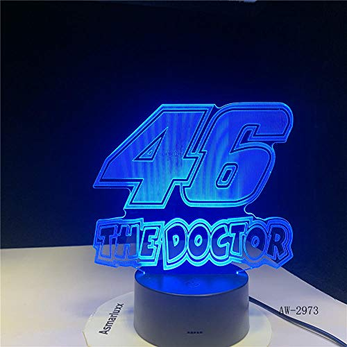 3D Optical Illusion 46 The Doctor 3D Lampada Led Luce Notte Lampadina Rgbw Calda Regalo Decorativo Natalizio Giocattolo Cartoon Luminaria@Con Un Controller_7 Colori