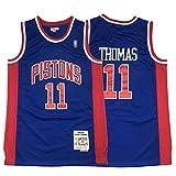 XGMJ Isaiah Thomas 11# Retro Jersey Camiseta de baloncesto, Detroit Pistons 1988-89 Clásico Gym Sports Chaleco Top Ropa para hombre, Swingman Jersey Camisa Deportiva Blue-L