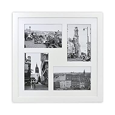 Golden State Art 12x12-inch Square Photo Wood Collage Frames with Photo Mat & Real Glass for 4 4x6 Pictures, White