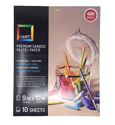 UART Sanded Pastel Paper M-148931 9-Inch/12-Inch No.400 Grade Paper, 10-Pack