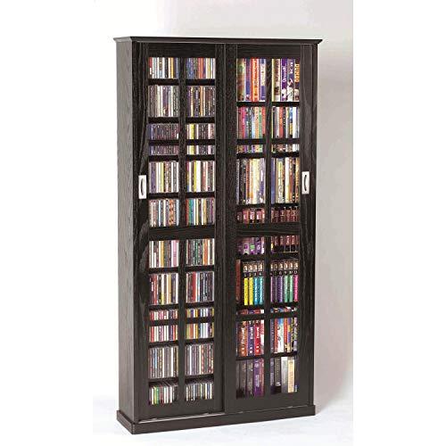 Big Sale Best Cheap Deals Leslie Dame MS-700B Sliding Glass Mission Style Door CD Storage Cabinet, Black