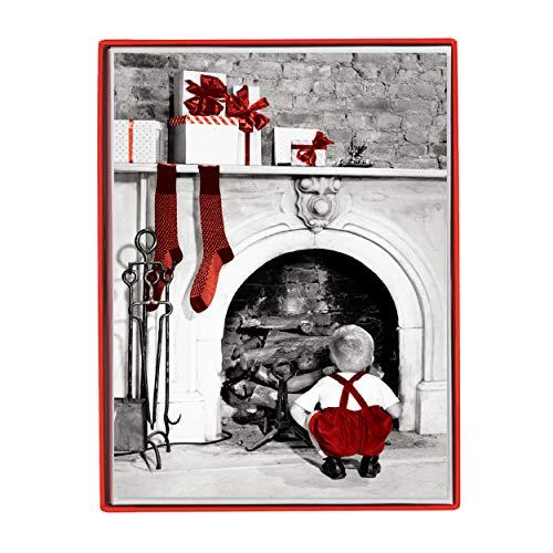 Graphique Tarjetas de felicitación para fiestas de chimenea, 15 tarjetas navideñas adornadas con purpurina, incluye sobres a juego y caja de almacenamiento, 12,1 x 16,8 cm