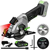 GALAX PRO 20V Cordless Circular Saw with Laser Guide, Rip Guide, Vacuum Adapter, 2PCS Blades plus 1 Allen Wrench, 3400RPM 4-1/2', Max Cutting Depth 1-11/16'(90°), 1-1/8'(45°)
