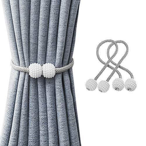SUOXU Vorhang-Raffhalter, 2 Stück magnetische Vorhang-Raffhalter, Perlenkugel-Vorhang-Clips, Seil-Halterungen, Vorhang-Weberei-Halter, Schnallen für Zuhause, Büro, dekorativ (grau