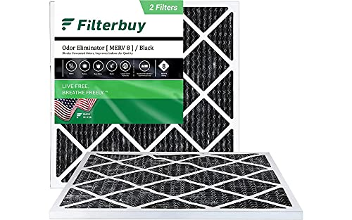 FilterBuy 20x20x1 Air Filter MERV 8 (Allergen Odor Eliminator), Pleated HVAC AC Furnace Filters with Activated Carbon (2-Pack, Black)