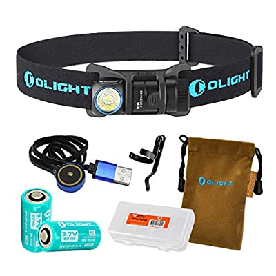 OLIGHT H1R Nova 600 Lumens Rechargeable LED Headlamp (Multiple Color Options) w/ 2X RCR123A Batteries, Magnetic USB Charging Cable, and LumenTac Battery Organizer