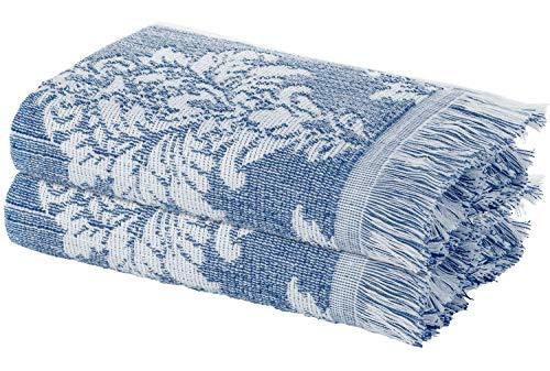 ARDENZA Juego de toallas de 2 piezas, estructura New profunda 2020, alta absorción, 400 g/m², estilo barocco Versailles, 100% algodón, toalla de baño con flecos, color azul, 2 x 48 x 90 cm