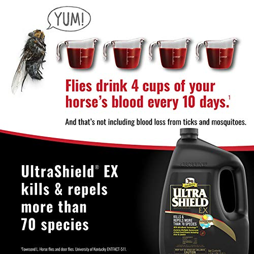 Absorbine UltraShield EX Insecticide Spray for Horses & Dogs, Kills & Repels Fly Tick Mosquito Flea Lice, Lasts Up to 17 Days, 128oz Gallon Refill