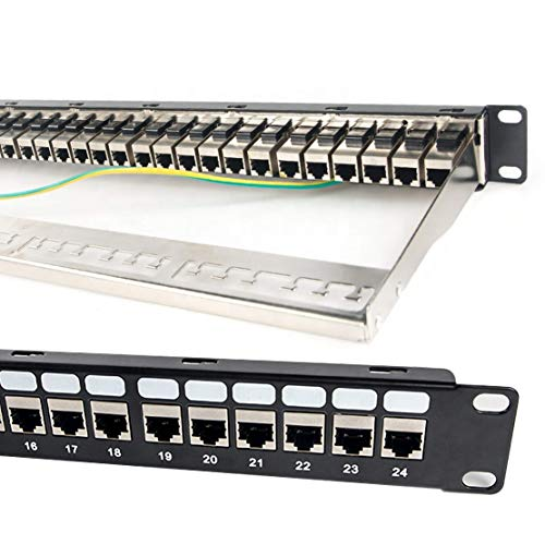 ETS 24-Port CAT6A FTP Shielded 1U Patch Panel 19-Inch Loaded w/Tool-Less Keystone Jacks Rackmount or Wallmount