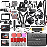 Vamson Accessories Kit for GoPro Hero 10 9 Black Waterproof Housing Case Filter Silicone Protector Frame Lens Screen Tempered Glass Head Chest Strap Bike Mount Floating Bundle Set Kit 64 in 1 AVS18