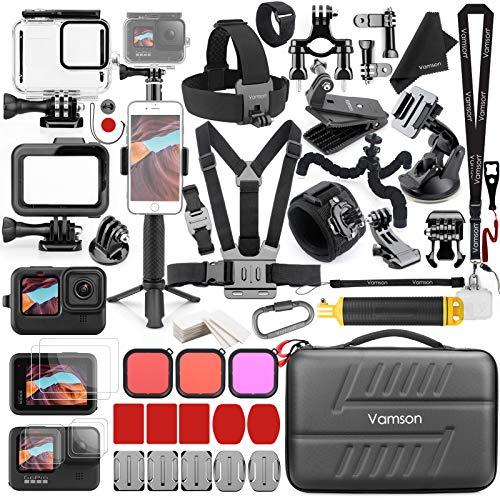 Kit de acessórios Vamson para GoPro Hero 9 preto à prova d'água, capa protetora de silicone, moldura de lente de vidro temperado, alça de peito de bicicleta, suporte para carro, kit de conjunto flutuante 64 em 1 AVS18