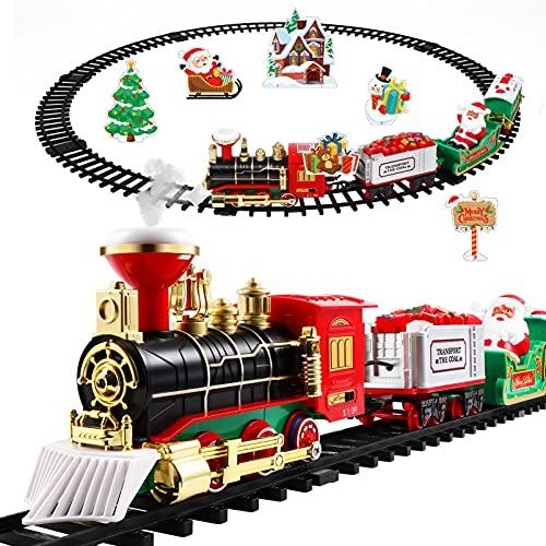 Toddmomy Juego de Tren de Navidad Juguete Eléctrico con Luces Y Sonido Alrededor del Árbol de Navidad Kits de Ferrocarril Niños Y Niñas