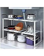 2 طبقة تخزين للمطبخ قابلة للتمدد، رف متعدد الوظائف قابل للتعديل من الستانلس ستيل، منظم تحت الحوض في خزانة تخزين
