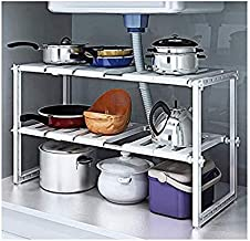 2 Tiers Expandable Kitchen Storage Multi-Functional Rack Adjustable Stainless Steel Under Sink Organizer Storage Shelf Cab...