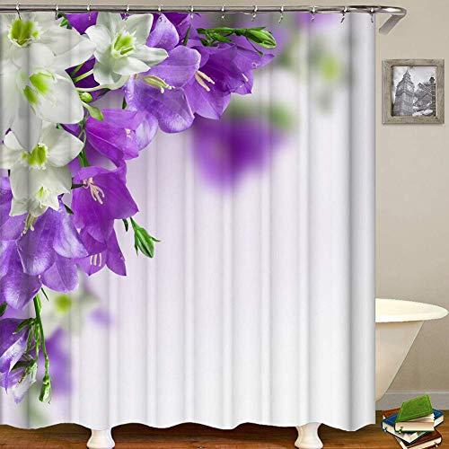 GWFVA Duurzame douchegordijn Mold Proof Waterdichte Gordijn Douche Badkamer Decoratie Accessoire met 12 haken, C, 150x180cm