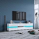 Mueble de TV con luces LED, mueble de TV moderno de alto brillo de 177 cm, con 2 puertas y 1 cajón para dormitorio, sala de estar, muebles del hogar (blanco)