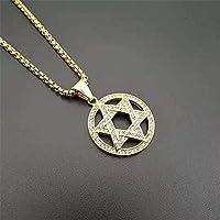 ダビデの星のヒップホップアイスアウトネックレスステンレススチールジュダイカネックレスゴールドカラーイスラエルユダヤ人ジュエリーチェーン長さ63cm