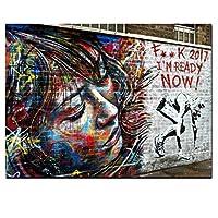 モダン私は準備ができていますストリートウォールアートキャンバス絵画ポップアートグラフィティポスタープリント写真リビングルーム家の装飾壁画35x50cmフレームレス