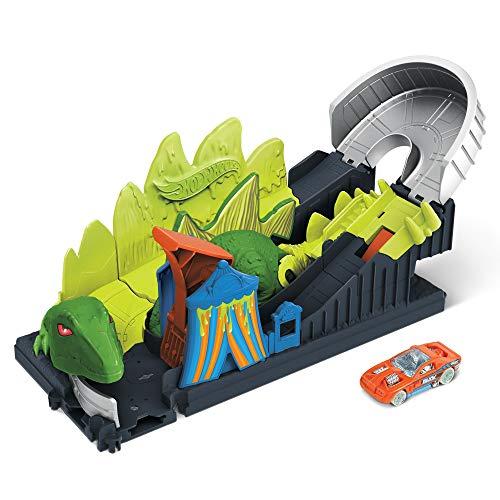 Hot Wheels City Attaque du Stégosaure Toxique avec montagnes russes, coffret à connecter avec circuit et pistes, voiture incluse, jouet pour enfant, GTT68