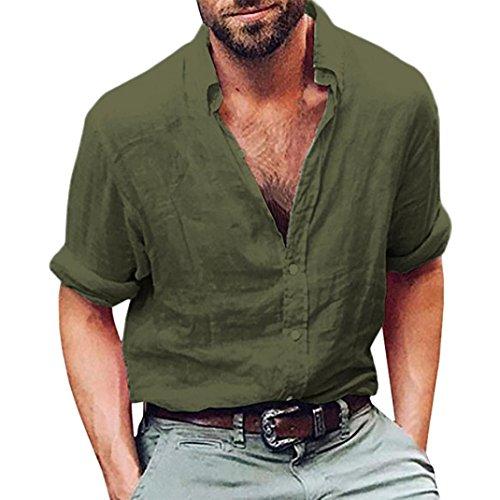 Chemises Rétro, YUYOUG Hommes à Manches Longues Henley Chemise Coton Lin Plage Yoga Loose Fit Tops Blouse (XL, Army Green)