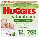 Huggies Natural Care Sensitive Baby Wipes, Unscented, 12 Flip-Top Packs (768 Wipes Total)