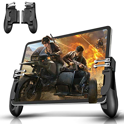 Newseego PUBG Mobile Phone Game Controller,[6 Fingers] Game Tablet PC Controller Joysticks Empfindlich Ziel & Feuern Moblie Gaming Trigger für Android/iOS für PUBG/Rules of Survival/Knives Out,Schwarz
