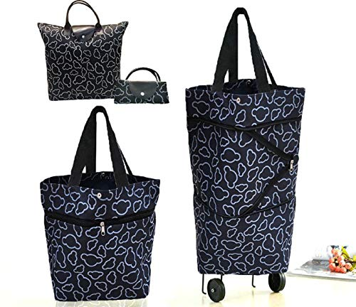 Cocobuy 2 Packs Foldable Shopping Bag with Wheels Collapsible Shopping Cart Shopping Trolley Bag on Wheels Grocery Bags(A Black)