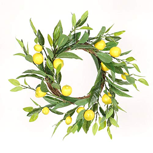 Atroy 17.8 Inch Artificial lemon Wreath Spring Fruit Wreath with Artificial Lemon Branch Simulation Lemon Rattan Ring for Home Wedding Office Party Decor