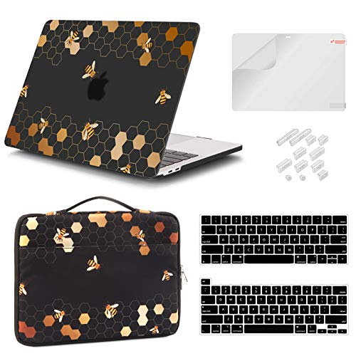 iCasso MacBook Pro 13 Inch Case 2020 2019 2018 2017 Release A2338 M1/A2251/A2289/A2159/A1989/A1706/A1708, Honeycomb Hard Shell Case, Sleeve Bag, Screen Protector, Keyboard Cover & Dust Plug Bundle