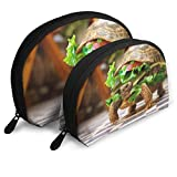 XCNGG Cute Burger Turtle Bolsa de almacenamiento Monedero Cosmético Bolsa de almacenamiento de viaje Una grande y una pequeña 2Pcs Papelería Lápiz Bolsa multifunción Cartera para niños Estuche para ll