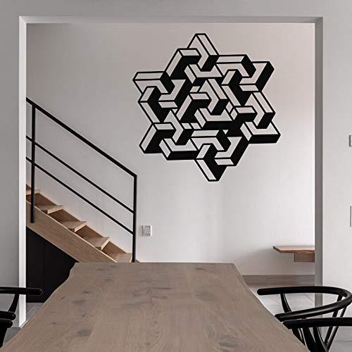 yaonuli Rechteckige geometrische Polygon Wandtattoo geometrische Aufkleber Familie Wohnzimmer und Shop Dekoration 74x75cm