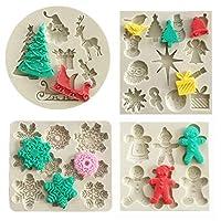 クリスマスフォンダン型4個セット クリスマスケーキカップケーキデコレーション シリコンチョコレートキャンディ型 クリスマスツリー/ジンジャーブレッドマン/トナカイ/スノーフレーク/サンタクロース クリスマスデコレーション 樹脂粘土型
